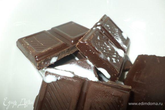 Шоколад поломать на кусочки, добавить немного молока или сливок и растопить в микро на минимальной мощности или распустить на водяной бане.