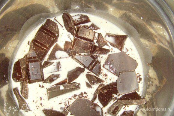 Растопить шоколад со сливками, ганашем покрыть тарт, поставить на 2 часа охлаждаться.