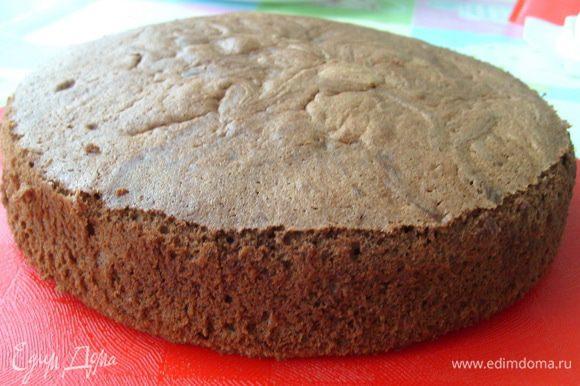 Охлажденный бисквит разрезать на два коржа.