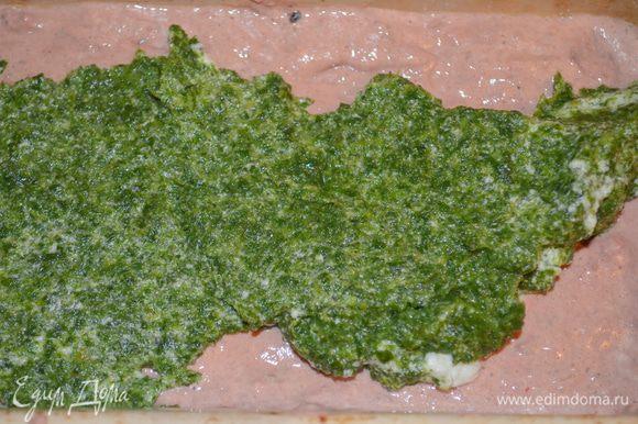 раскладываем зеленый слой на печеночном. Это делается очень просто!