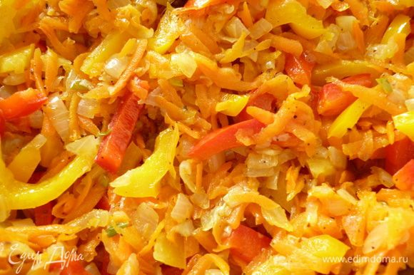 Нагреть сковороду с растительным маслом на небольшом огне,репчатый лук обжарить до прозрачности,добавить морковь, обжарить вместе с луком 10-15 минут, помешивая, посолить и поперчить (я еще добавила немножко молотой красной паприки и лавровый листик маленький), добавить нарезанный перец и прогреть 3-4 минуты под крышкой,что бы перец немножко обмяк. Остудить.