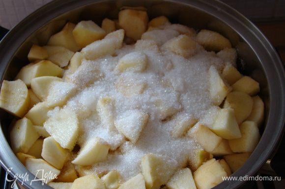 Нарезать кубиками, добавить сахар, сок, воду, корицу и тушить на среднем огне до состояния густого пюре, остужаем