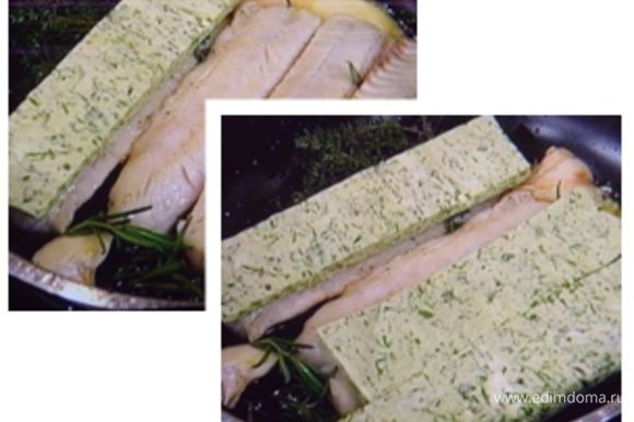 покрыть филе корочкой и запекать в разогретой духовке при 200° под грилем 5-8 мин.