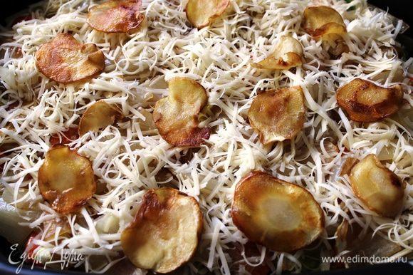 Присыпать слой с луком тертым сыром и разложить пластинки корня пастернака...предварительно его нужно поджарить