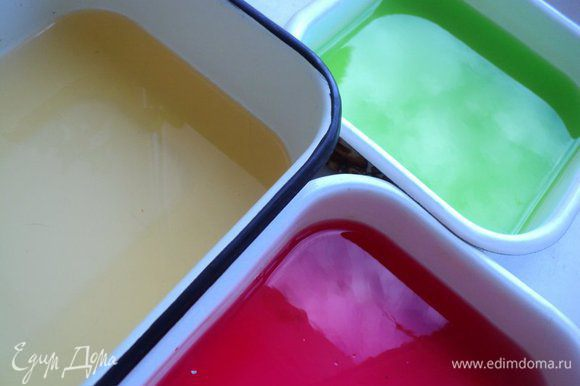 Развести согласно инструкции желе, только воды брать по 200 мл, разлить по судкам и оставить остывать до комнатное температуры, затем в холодильник до полного застывания.