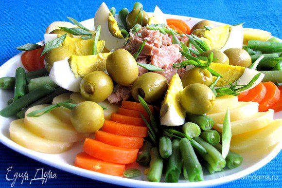 ....и другие овощи. Посыпать салат нарезанным зеленым луком и оливками, полить заправкой. Приятного аппетита!