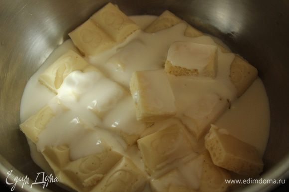 Растопить на водяной бане шоколад с добавлением сливок.