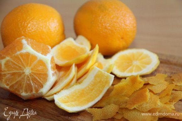 Апельсины очистить: снять тонким слоем цедру, обрезать белую прослойку, апельсины нарезать на куски, удалить косточки и перегородки.