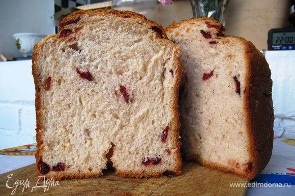 Заложить продукты в хлебопечь в порядке указанном в вашей инструкции. В моей модели идут сначала жидкие компоненты, затем мука, дрожжи и по сигналу добавление орехов и цукатов.