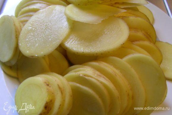 Картофель чистим по желанию (я не стала) и режем тонкими кружочками.