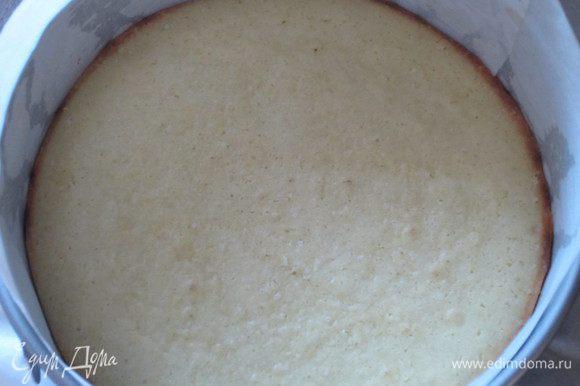 Тесто выложить в разъёмную форму с пергаментом и выпекать разогретой до 180 °С духовке 20 минут.