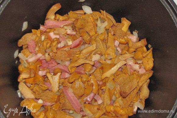 Добавить лисички (если вы их отваривали, то отжать воду) и готовить на небольшом огне 10-15 минут.