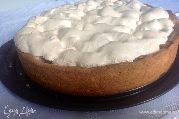 Взбиваем белки с сахаром в крепкую пену. Достаем из духовки пирог, распределяем безе сверху груш.....убавляем градусы до 150 и выпекаем до золотистого цвета безе.