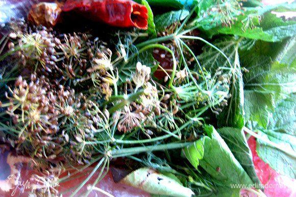 Зелень, как обычно при солении-мариновании...