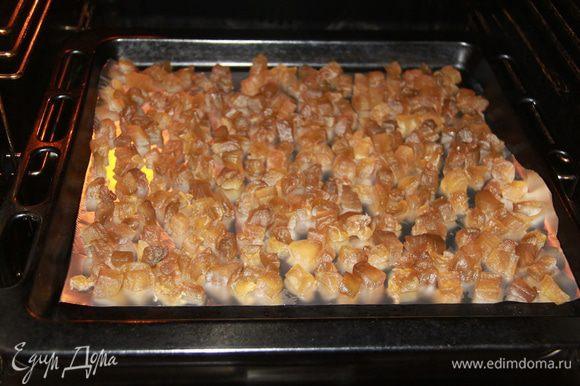 Цукаты подсушить на листе фольги в духовке при 80*С в течение 3 часов, затем оставить цукаты в выключенной духовке до полного остывания.