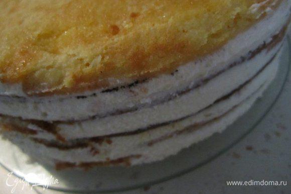 После охлаждения торт достать из формы. Выложить на блюдо, украсить по желанию. Можно небольшим количество взбитых сливок и миндальными хлопьями.