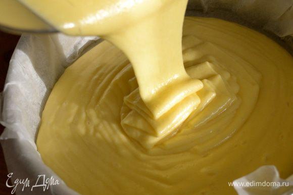 Форму для выпечки смазать маслом и присыпать мукой. (я использую пекарскую бумагу) Выложить тесто в форму и поставить выпекаться в духовку приблизительно на 40 минут (у меня пирог выпекался 50 минут) Готовность бисквита проверить деревянной шпажкой!