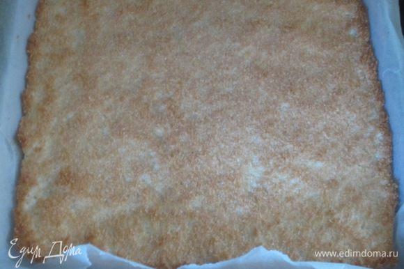 Ввести кокосовую стружку и аккуратно перемешать. Противень застелить пергаментом, смазать сливочным маслом и выложить кокосовое тесто. Выпекать в разогретой до 190 ° С духовке до золотистого цвета (примерно 6-7 минут).
