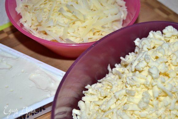 Подготовить сыры,натереть на крупной терке.Сыр лучше брать с ярко выраженным вкусом,тогда конечный результат будет более ароматным.