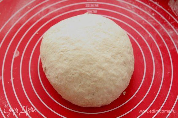 Замесите тесто. Придайте тесту форму шара, смажьте чашку растительным маслом и положите туда тесто. Накройте пленкой и дайте подняться в течение 1 часа в тёплом месте.