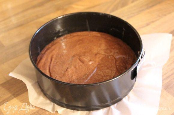 Дно формы (24-26 см) застелить пергаментом, стенки смазать маслом. Вылить тесто в форму и выпекать при 180*С около 25 минут. Для формы 18 см использовать половину нормы всех продуктов.
