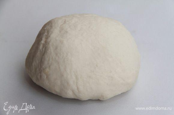 Тщательно вымесить тесто (вымешивать 10-15 минут). Оставить тесто на 1 час на подъём в тёплом месте.