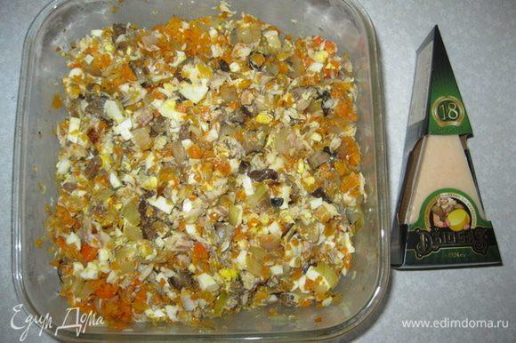 Все объединяем, перемешиваем, трем сыр Джюгас и заправляем домашним майонезом. http://www.edimdoma.ru/retsepty/60508-vkusnyy-i-poleznyy-domashniy-mayonez-s-limonom