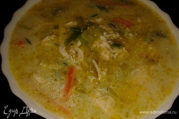 Перед подачей можно в суп добавить сухарики из батона.