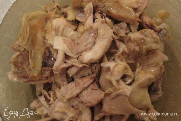 Варим и режем курицу.