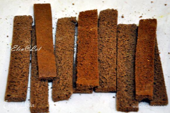Шоколадный корж нарезать на полосы шириной 1 см и пропитать каждую полосочку пропиткой.