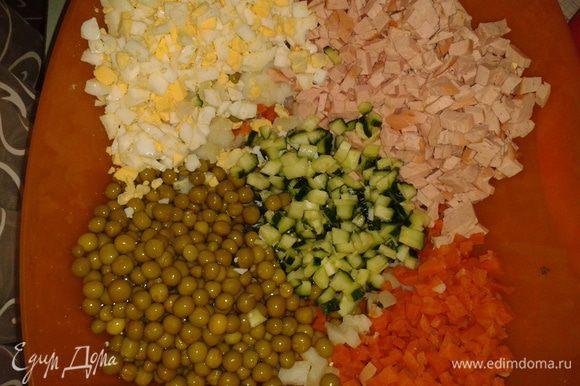 Морковь и картофель отварить, почистить. Картофель, яйца, морковь, лук, огурцы, колбасу нарезать кубиками. Соединить с горошком.