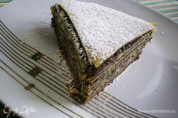 Теплый пирог вынимаем из формы и посыпаем сахарной пудрой. Приятного аппетита!!!