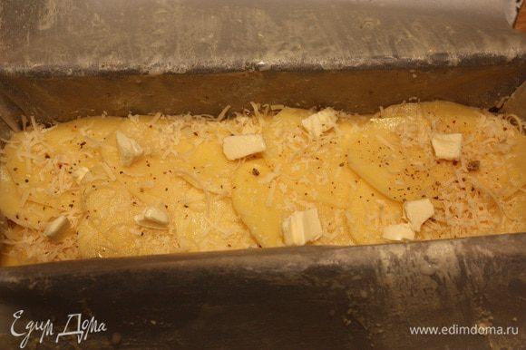 Форму выкладываем бумагой для выпекания, промазанной сливочным маслом. Затем выкладываем картофель внахлест. Каждый слой посыпаем приправой для картофеля и тертым сыром и кладем кусочки сливочного масла. Солить через слой. Когда доходим до среднего слоя, выдавливаем чеснок через чеснокодавку, затем сыр и масло. Когда все слои выложены, залить 100 мл сливок.