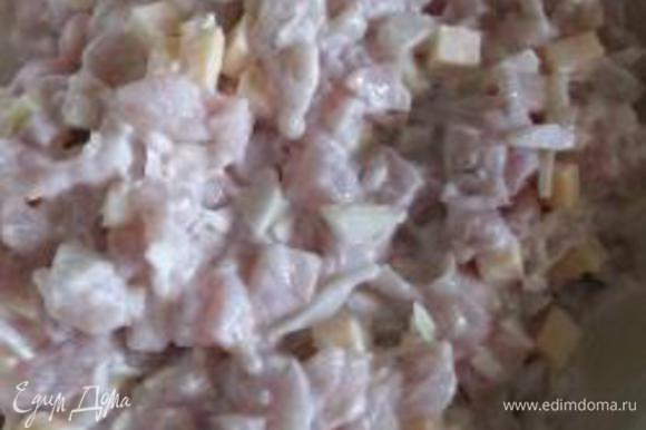 Смешиваем в миске курицу, сыр, лук, мелко нарезанный чеснок, специи (у меня соль, перец, кориандр и сушенный майоран) и оставляем мариноваться на 1,5 часа.