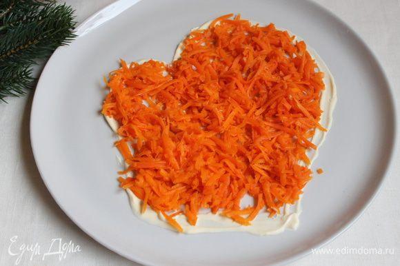 Выкладываем нашу морковь. Не заходим за контур. Сверху делаем сеточку из майонеза.