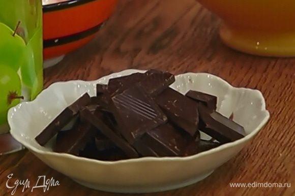 Шоколад поломать кусочками.