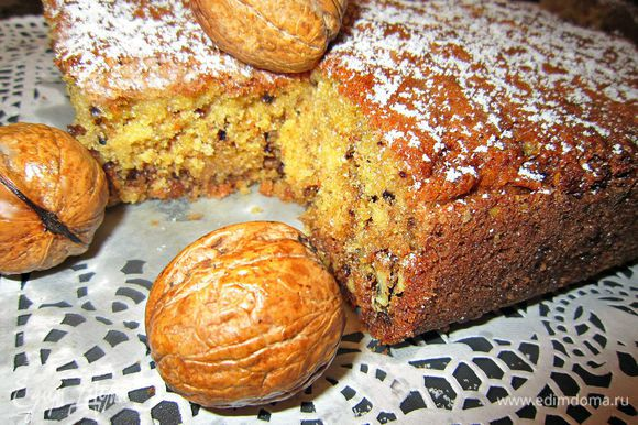 Нарежьте пирог на кусочки и наслаждайтесь ореховым вкусом!!! Приятного аппетита!