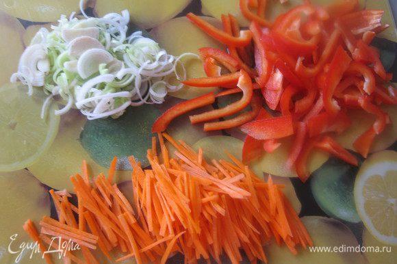 Лук-порей порезать полукольцами, овощи тонкой соломкой, чеснок мелко порубить.