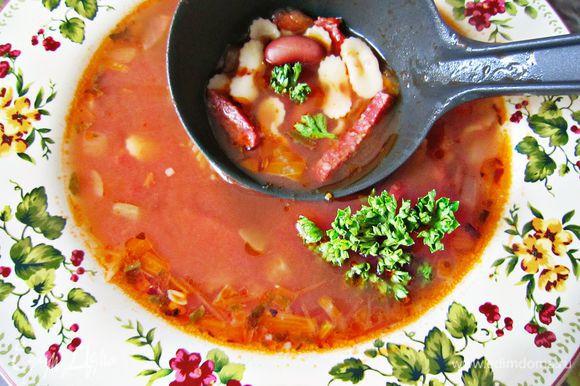 Разливаем по тарелкам, украшаем петрушкой и угощаем семью вкусным сытным супчиком! Buon appetito!