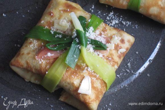 Форму для запекания смазать оливковым маслом, выложить фаготтини, сверху посыпать тёртым пармезаном и выложить хлопья сливочного масла. Запекать в разогретой до 220 °С духовке 10 минут. Приятного аппетита:)