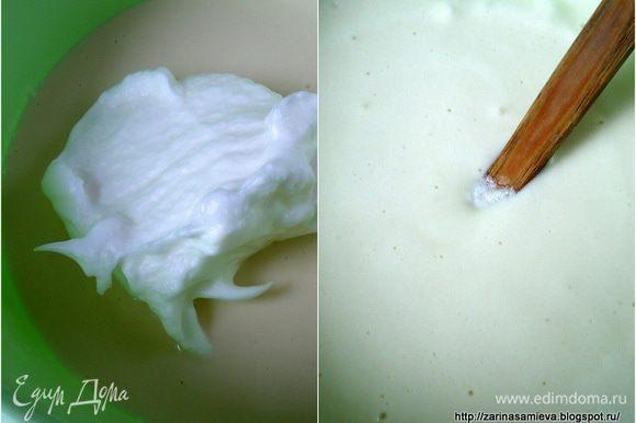... аккуратно вмешать в тесто. Тесто после «отдыха» станет более густым, поэтому, нужно влить около стакана теплой воды и аккуратно перемешать, чтобы, не осели белки.
