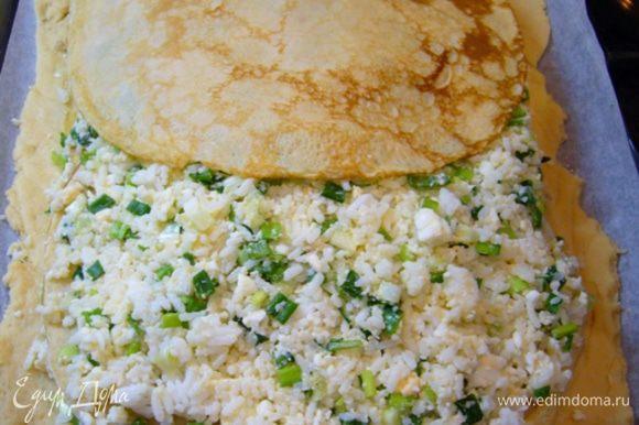 Далее – очередь начинки из риса. Блины.