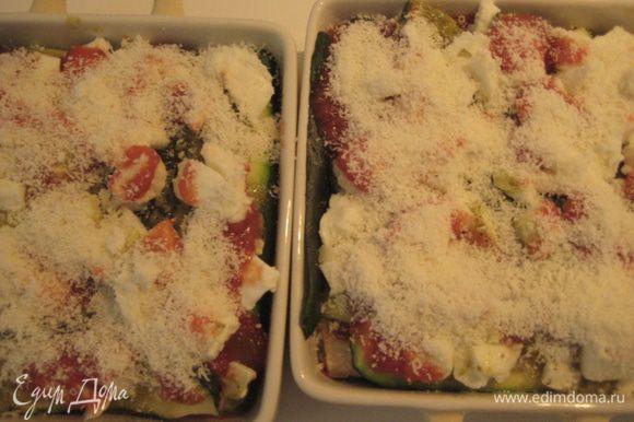 Песто,оставшийся томатный соус, все посолить и поперчить, посыпать моцареллой и тертым пармезаном. Поставить в разогретую духовку на 200 гр на 20-25 минут.