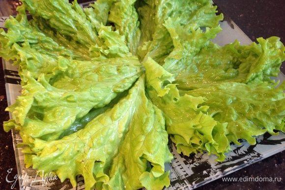 Салат разберите на листья, вымойте, обсушите бумажным полотенцем и выложите на блюдо.
