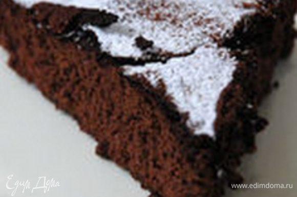 Готовый чизкейк остудить и поставить на 4–6 часов в холодильник, затем посыпать какао-порошком и сахарной пудрой.