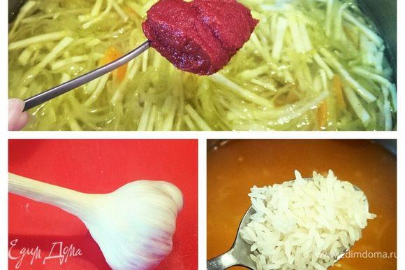Добавить рис, томатную пасту и зубчик чеснока.