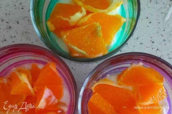 Чистом и режим апельсин и выкладываем на йогурт.
