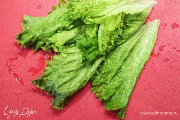 Листья салата промыть и дать стечь воде. На тарелку выложить пару листьев салата, яблоко и кабачок и снова повторить слои. Выложить творожный шарик. Присыпать кунжутом и перцем. Взбрызнуть салат бальзамическим уксусом и оливковым маслом.