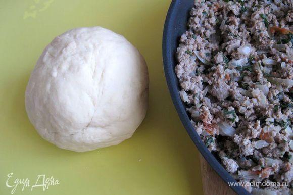 Начинку обжарить на сковороде с добавлением растительного масла (2 ст.л.).Муку просеять. Из яиц, воды и муки замесить крутое эластичное тесто. Скатать его в шар. Накрыть влажным полотенцем или салфеткой и дать постоять 20 – 25 мнут.