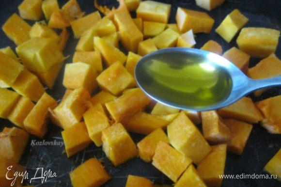 Приготовить тыкву можно любым удобным для вас способом. Я запекала в духовке , с добавлением 1 ст.л оливкового масла, 40 минут, до мягкости.